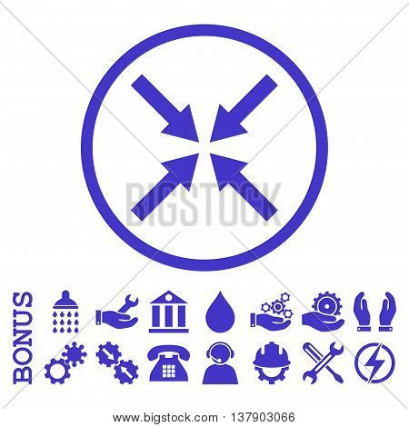 Center Arrows vector icon. Image style is a flat pictogram symbol inside a circle, violet color, white background. Bonus images are included.