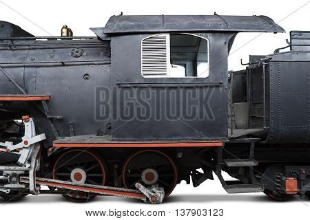 Image of an old locomotive with machinist room isolated on white background