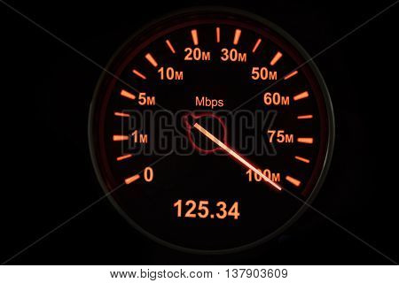 Image of speedometer of internet connection with speed up to 125.34 Mbps
