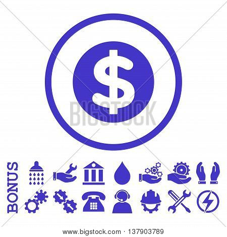 Finance vector icon. Image style is a flat pictogram symbol inside a circle, violet color, white background. Bonus images are included.