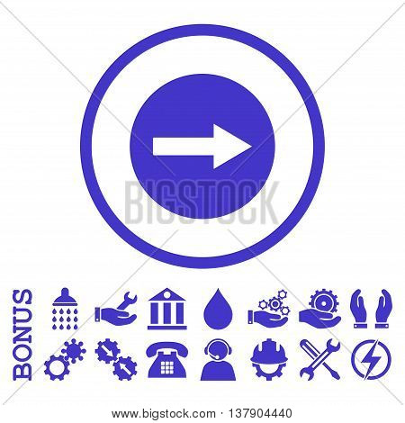 Right Rounded Arrow vector icon. Image style is a flat pictogram symbol inside a circle, violet color, white background. Bonus images are included.