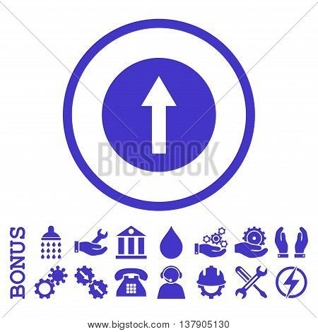 Up Rounded Arrow vector icon. Image style is a flat pictogram symbol inside a circle, violet color, white background. Bonus images are included.
