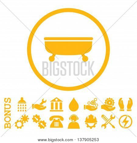 Bathtub vector icon. Image style is a flat pictogram symbol inside a circle, yellow color, white background. Bonus images are included.