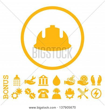 Construction Helmet vector icon. Image style is a flat pictogram symbol inside a circle, yellow color, white background. Bonus images are included.