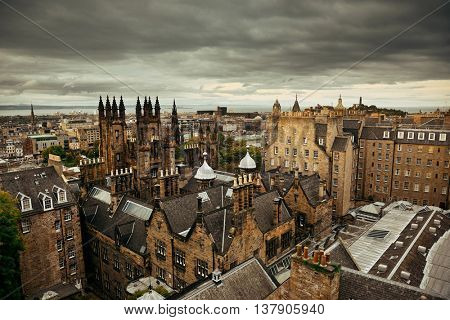 Edinburgh city rooftop view with historical architectures. United Kingdom.