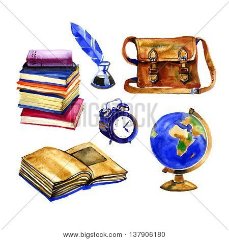 watercolor back to school illustration with supplies - alarm clock ink pen books globe isolated on white background
