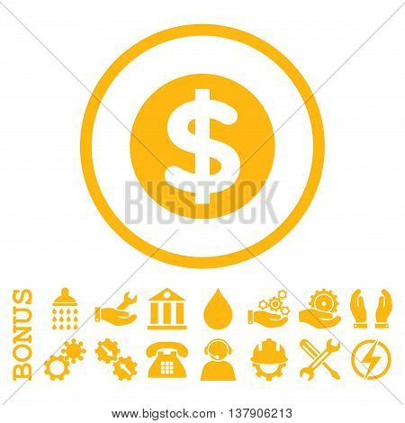 Finance vector icon. Image style is a flat pictogram symbol inside a circle, yellow color, white background. Bonus images are included.