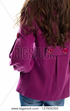 Back view of purple coat. Short coat and jeans. Outerwear from limited collection. Warm high-quality fleece.