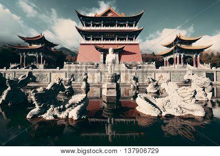 Chongsheng Monastery with dragon statue in Dali, Yunnan, China