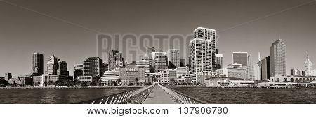 San Francisco city skyline panorama with urban architectures from pier.