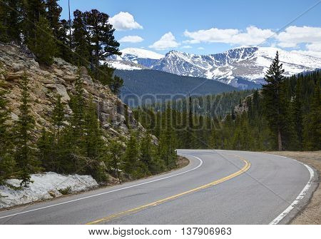 High Mountain Road in Snow Covered Mountains