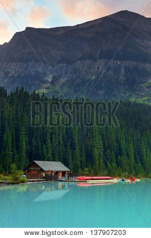 Boat house by Lake Louise in Banff National Park, Canada.