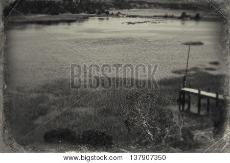 Duck creek in Wellfleet, MA on Cape Cod, grayscale
