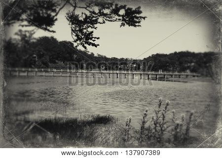 Uncle Tim's Bridge at Duck Creek in Wellfleet, MA Cape Cod in black and white