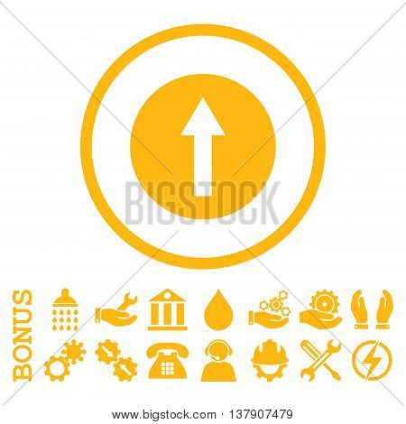 Up Rounded Arrow vector icon. Image style is a flat pictogram symbol inside a circle, yellow color, white background. Bonus images are included.