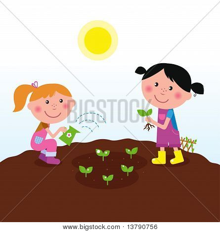 Two happy kids watering and planting plants in the garden
