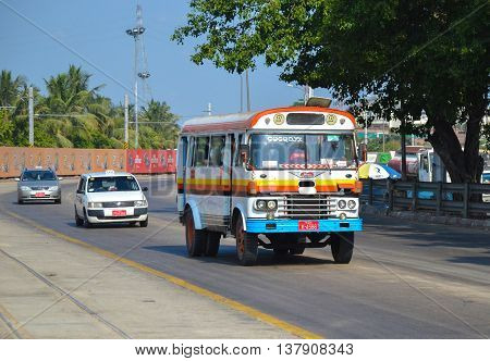 Yangon Myanmar - April 25 2016 : People commuting on the very old bus in Yangon