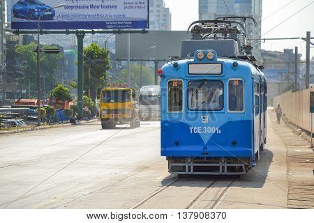 Yangon Myanmar - April 25 2016 : Yangon Tram. begun service on 11 January 2016 using a single 50-year old tram from Hiroshima Japan