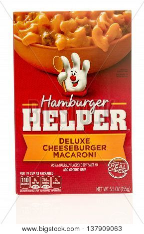 Winneconnie WI - 10 July 2016: Box of Hamburger Helper in deluxe cheeseburger macaroni flavor on an isolated background.