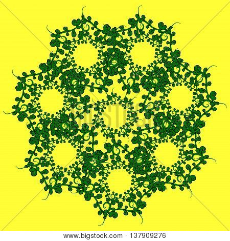 The pattern of grass. Gentle green pattern of the blades of grass on a yellow background.