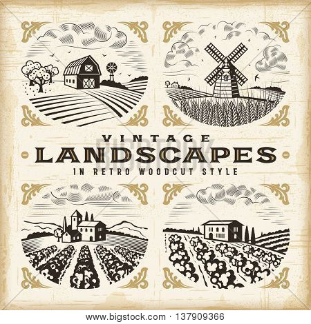 Vintage landscapes set. Editable EPS10 vector illustration in retro woodcut style with clipping mask and transparency.