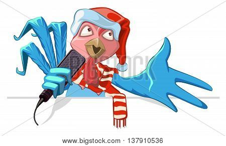 Blue cock symbol 2017. Rooster in santa hat singing into microphone song. Vector cartoon illustration