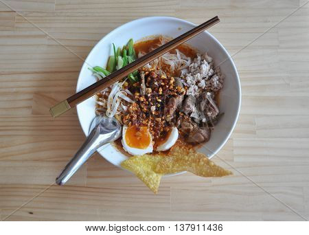 Tom-Yam Noodle. Spicy noodle a favorite foods in Thailand