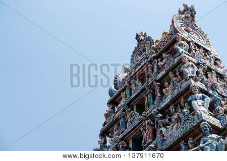 close up Hindu temple with blue sky