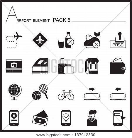 Airport Element Graph Icon Set 5.Mono pack.Graphic vector logo set.Pictogram design.