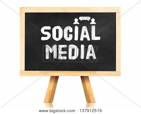 Social Media Word With Icon On Blackboard In White Background