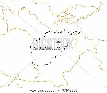 Afganistan country with its capital Kabul in Asia hand-drawn sketch map isolated on white