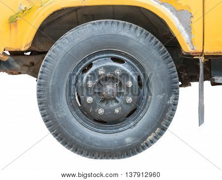 old truck's tire isolated on white background with clipping path