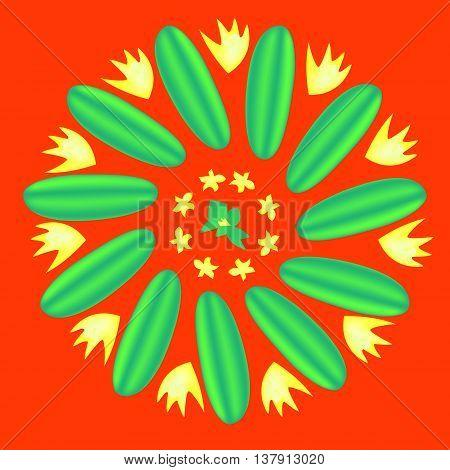 Flower cucumber. Flower of fresh cucumbers on an orange background