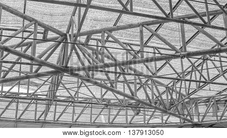 steel roof truss steel structure frame in black and white tone