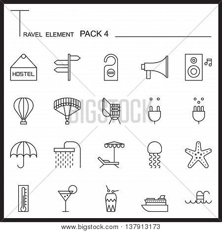 Travel Element Line Icon Set 4.Beach and Sea thin icons.Mono pack.Graphic vector logo set.Pictogram design.