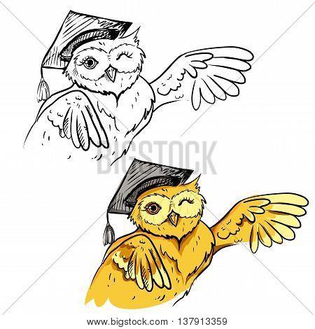 vector illustration bird scientist owl on white background. vector eps 8
