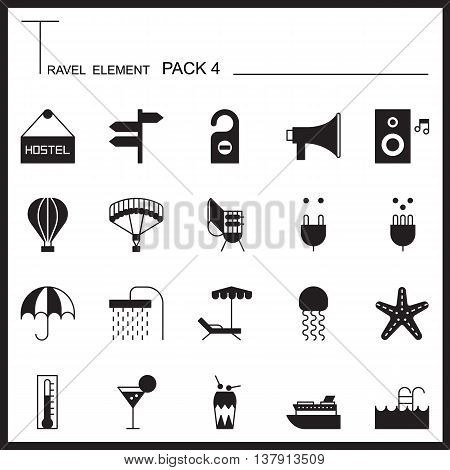 Travel Element Graph Icon Set 4.Beach and Sea thin icons.Mono pack.Graphic vector logo set.Pictogram design.