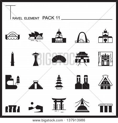 Travel Element Graph Icon Set 11.Landmark thin icons.Mono pack.Graphic vector logo set.Pictogram design.