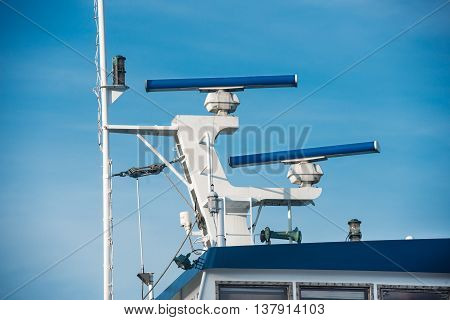 Main mast of passanger ship with navigation equipment