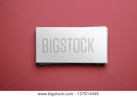 Blank corporate identity on red background. Clipping path included - Ready for your artwork