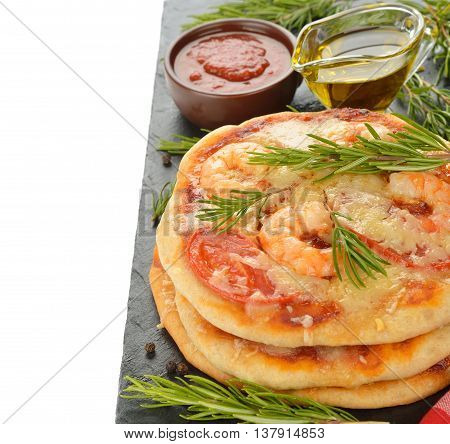 Pizza with shrimp and rosemary on a white background