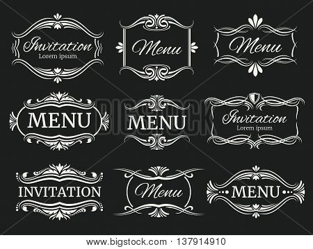 Calligraphic decorative vector frames for menu and wedding invitation. Calligraphic frame for wedding and invitation, illustration element vintage menu