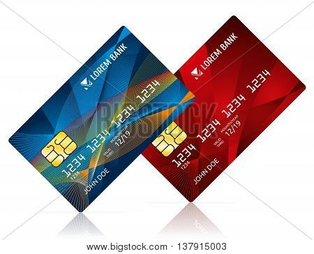Credit card isolated on white vector illustration. Debit card for business, card model for payment