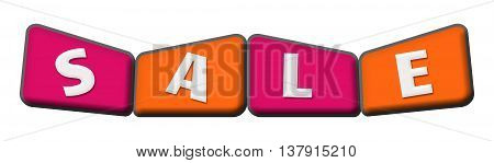 Sale text alphabets written over pink orange background.