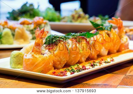 Spicy Sushi salmon Roll with Shrimps,  Japanese Cuisine