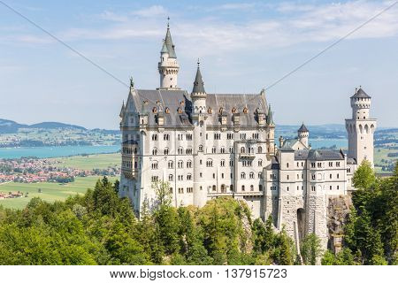 Beautiful summer view of the Neuschwanstein castle at Fussen Bavaria, Germany