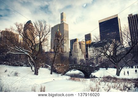 Central Park New York City at Gapstow bridge under the snow in the winter