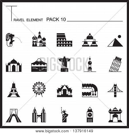 Travel Element Graph Icon Set 10.Landmark thin icons.Mono pack.Graphic vector logo set.Pictogram design.