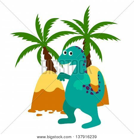 Green happy dinosaur vector applique illustration. Dino in rainforest with palms and mountains. For kids apparel, books and cards