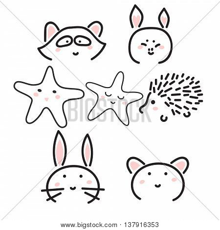 Line animal icons with cute faces. Raccoon, hedgehog, bunny, pig and bear. Minimalistic animal doodle illustration.